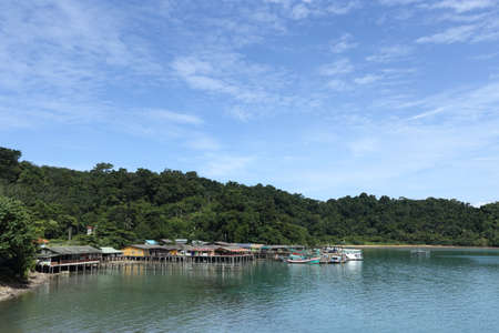 carrying: Trat, Thailand - July 3, 2017 ; View from Ferry Carry car vehicles acroos Thai Bay to Koh Chang Island in beautiful sunshine day green ocean