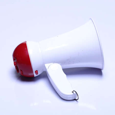 mega phone: Megaphone speaker device, white red color, no logo, studio lighting white background isolated