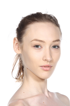 Caucasian Woman before make up hair style. no retouch, fresh face with acne, skin moles, wart then good base and foundation cosmetic Stock Photo