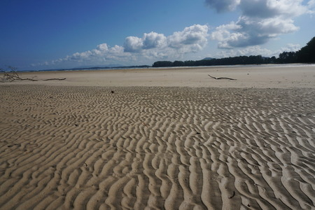 Wave Sand beach in the morning with shadow to show texture of delicate sand, Phuket Island