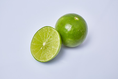 Limes slice on white background