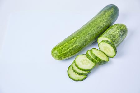 Cucumber slice on white background Stock Photo