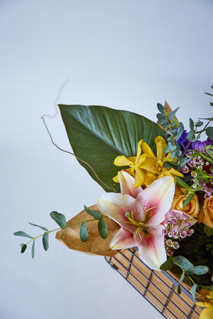 Various of flowers in box on white background Banque d'images