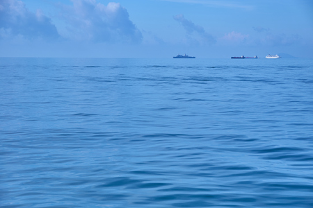 Ships sailing on lonely sea