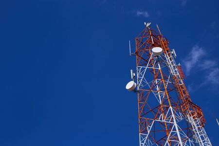 Telecommunication tower with blue sky Stockfoto