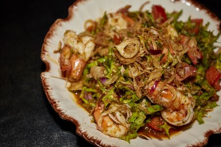 Stir fried shrimp with wings bean and shrimp paste