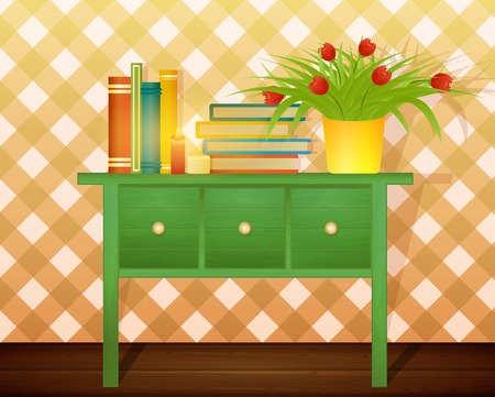 cosily: stack of books and pot with flowers on green table