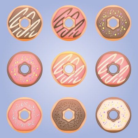 tasty: Vector illustration of nine tasty ring donuts