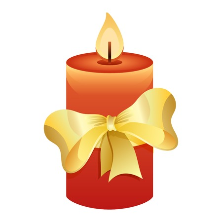 paraffin: Red candle with golden bow on white background