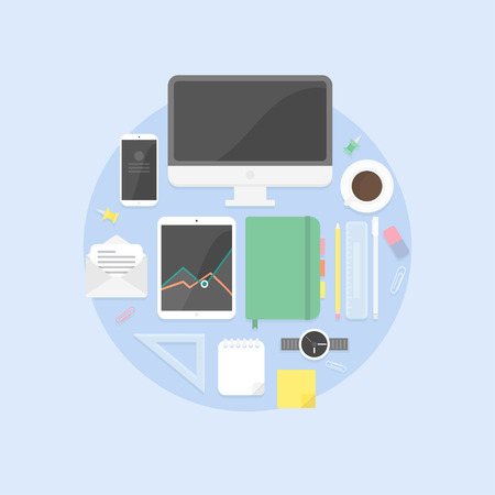 Flat design objects, productive office workplace. Icons set of business work flow items