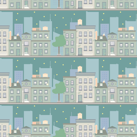 scape: night city scape seamless pattern, vector background illustration in flat style design.