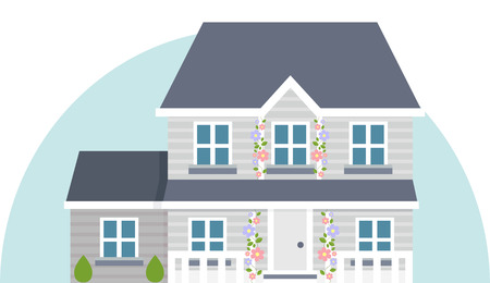 Vector illustration of grey house in flat style design. Vector Illustration