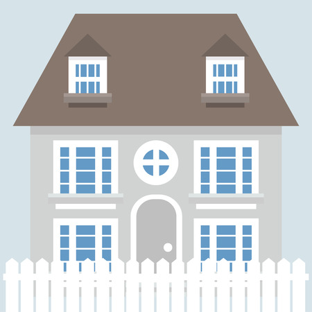 two story: Vector illustration of grey two story house in flat style design.
