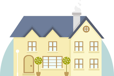 architectural styles: Vector illustration of house in flat style design. Illustration