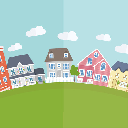 clouds scape: Vector small town background  in flat style.