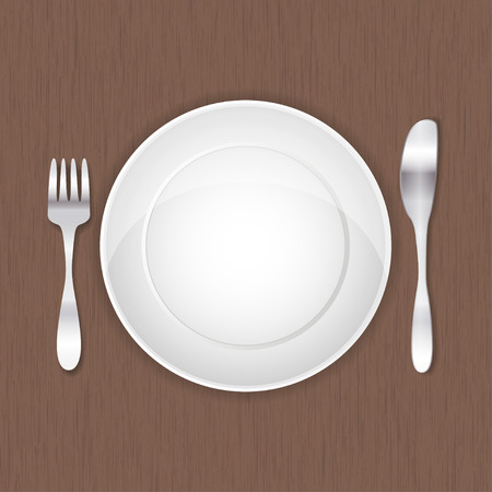 banquet table: vector illustration of empty white plate, fork and knife on wood background