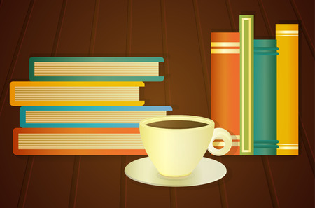 cosily: stack of books and cup of coffee on the table, vector illustration