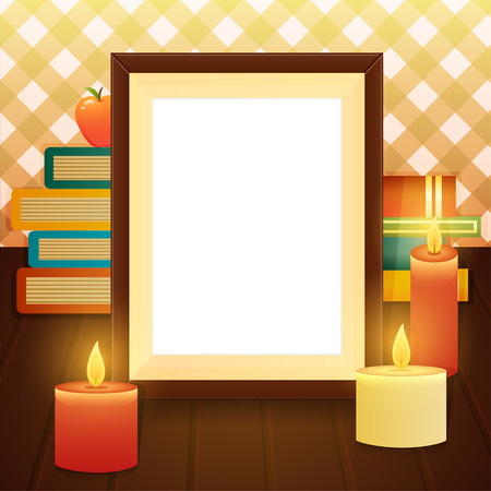 cosily: Empty picture frame on the table with books and candles, still life. Vector illustration Illustration