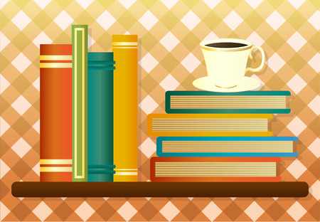 cosily: Library shelf with books and cup of coffee, vector illustration Illustration