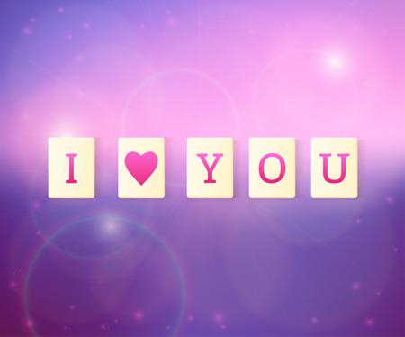 and spelling: letter tiles spelling i love you on soft purple background. Vector illustration