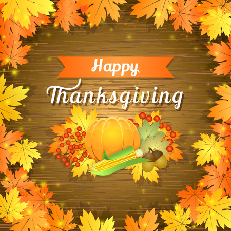 autumnal: Illustration of greeting card for Thanksgiving with autumnal leaves on wooden background Illustration