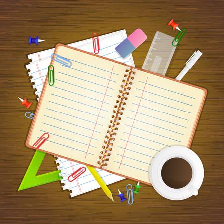 utiles escolares: Papel de la escuela y cuaderno vac�o en el fondo de madera, ilustraci�n vectorial