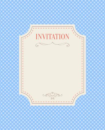 festive occasions: Invitation template on blue gingham background, vector illustration Illustration