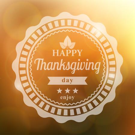 thanksgiving day symbol: Scheda di ringraziamento felice su sfondo arancione, illustrazione vettoriale