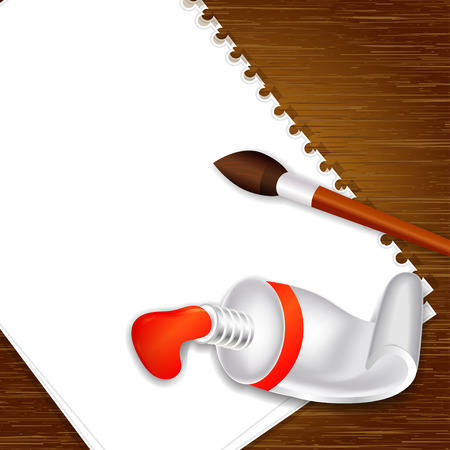paint tube: empty paper on wooden background with paint tube and brush, vector illustration Illustration