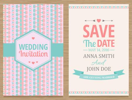романтика: мило свадебные приглашения карты, векторные иллюстрации Иллюстрация