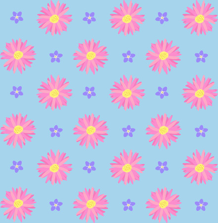 violet flowers: Seamless pattern with pink and violet flowers. Vector illustration Illustration