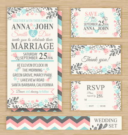 and turquoise: Wedding invitation template, thank you card, save the date, RSVP card. Wedding set.