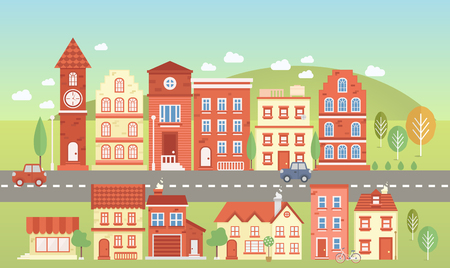 locality: Vecor town set. Elements for city illustration. Buildings, transport. trees icons. Town infographic elements. Vector illustration Illustration