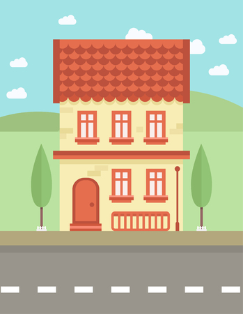 architectural styles: Colorful Flat Building, Vector illustration