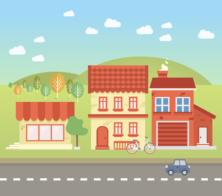 town houses: Small towns street, with transport and trees. Vector illustration Illustration