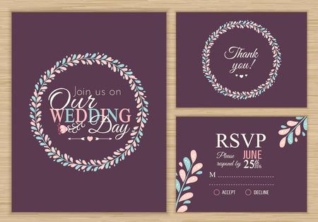 rsvp: Wedding set. Wedding invitation, thank you card, RSVP. Vector illustration Illustration