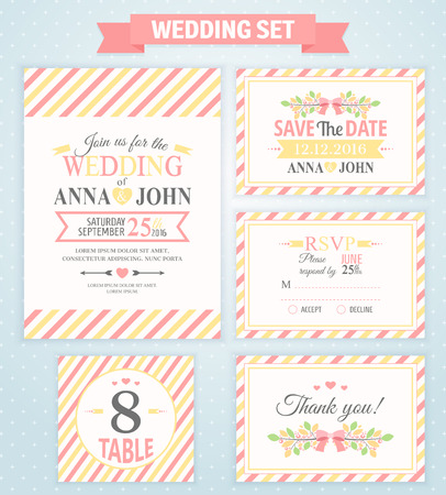 rsvp: Wedding invitation template, thank you card, save the date, RSVP card. Wedding set.