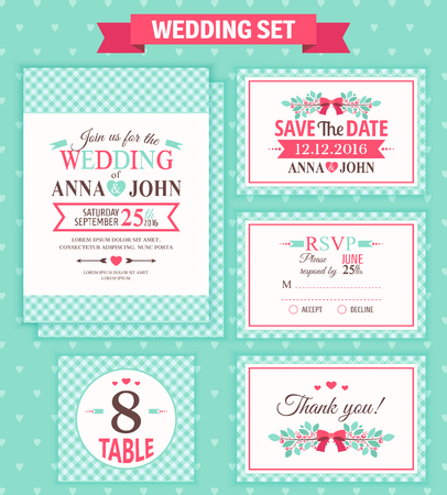 rsvp: Wedding invitation template, thank you card, save the date, RSVP card. Wedding set.