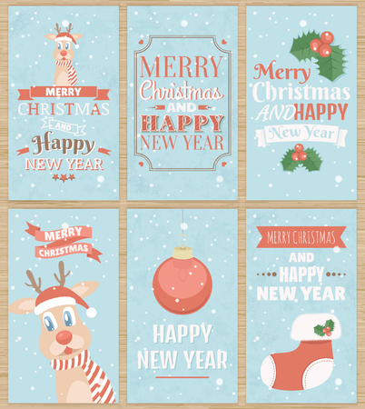 festal: Set of six Christmas greeting cards with cute reindeer, Christmas sock and other elements. Merry Christmas and Happy New Year. Vector illustration.