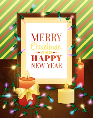 picture card: Picture frame decorated with christmas lights. Christmas greeting card. Vector illustration.