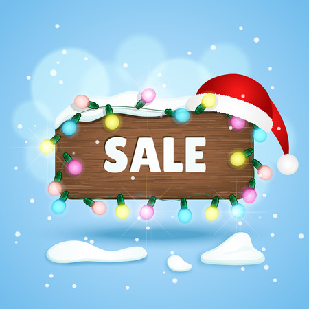 wooden hat: wooden sign with Sale text, christmas lights and christmas hat. Winter background. Vector illustration