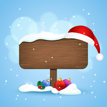 Wooden sign with christmas hat and baubles in the snow. Winter background. Vector illustration