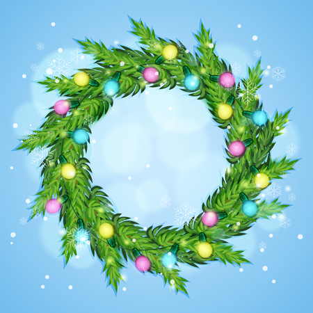 festal: wreath with christmas lights. Winter background. Vector illustration Illustration