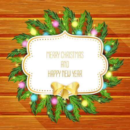 festal: Merry Christmas greeting card  with christmas tree and golden bow.  Christmas wreath on wooden background. Vector illustration