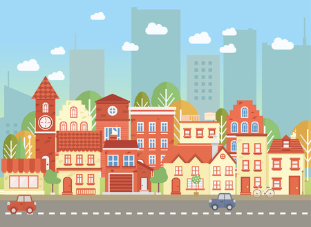 locality: Vecor towns street. Flat cityscape. Vector illustration