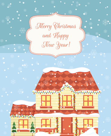 Christmas greeting card design with house. Vector illustration
