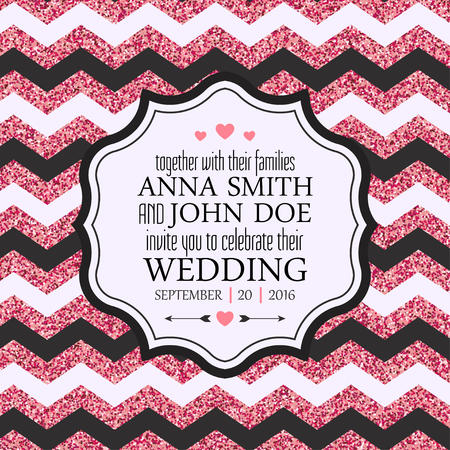 Wedding Invitation Card. Pink glitter chevron background. Vector illustration