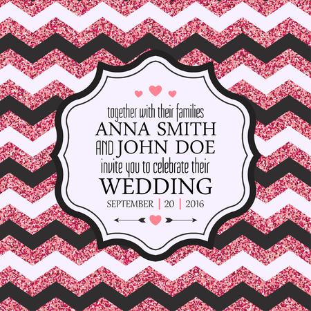 chevron background: Wedding Invitation Card. Pink glitter chevron background. Vector illustration
