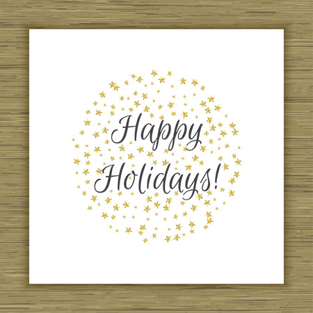 festal: Happy Holidays card with gold glitter stars. Vector illustration Illustration
