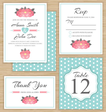 wedding table decor: Wedding invitation template, thank you card, RSVP card. Wedding set